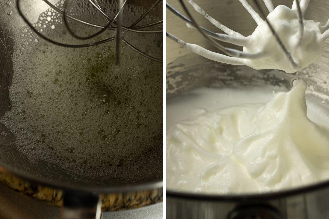split image of foamy egg whites and white egg whites