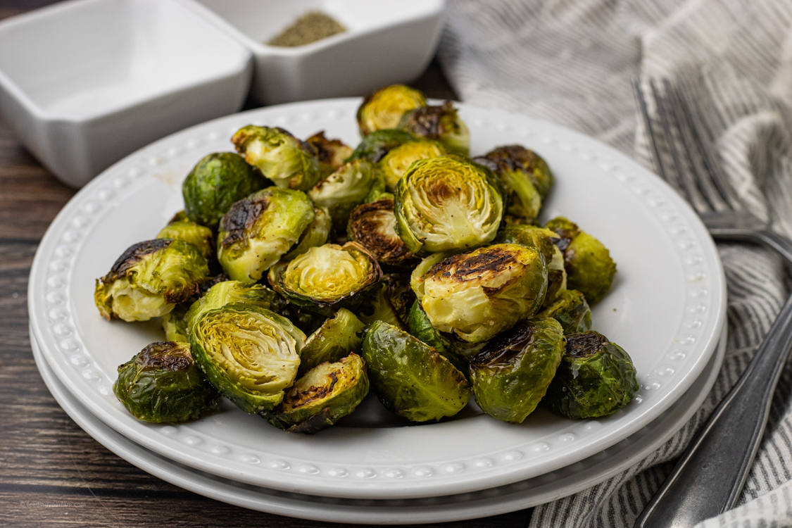 plate of baked brussel sprouts