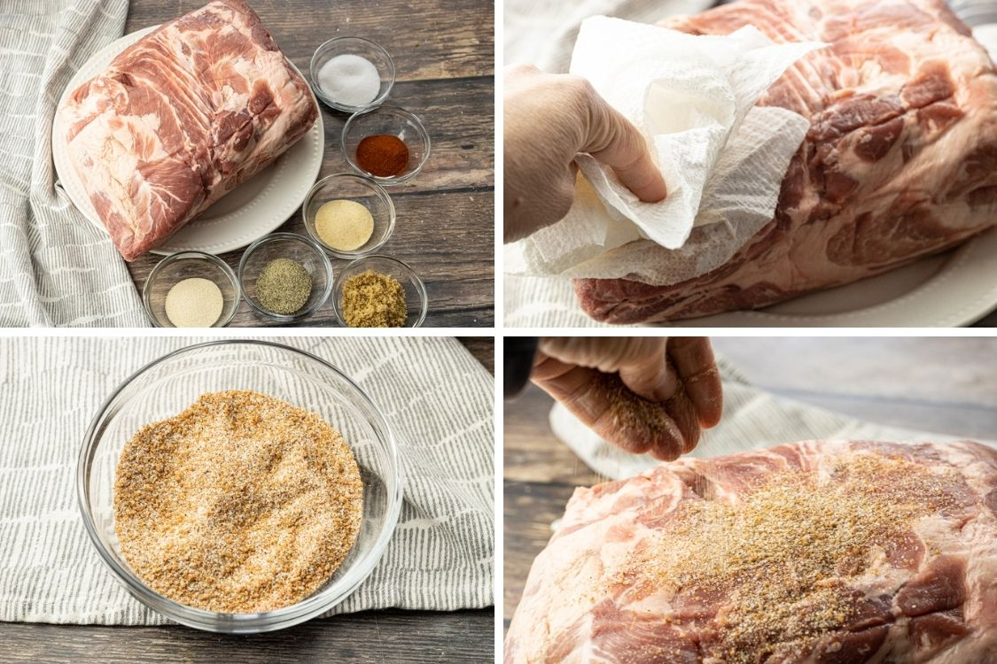 collage image of pulled pork, patting dry with a paper towel, spice mix in a bowl, sprinkling on spices