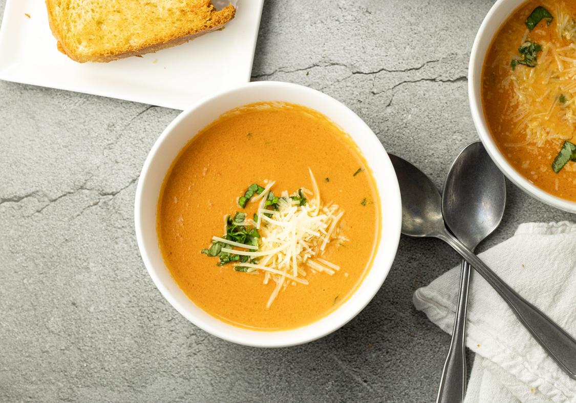 bowl of creamy homemade tomato soup