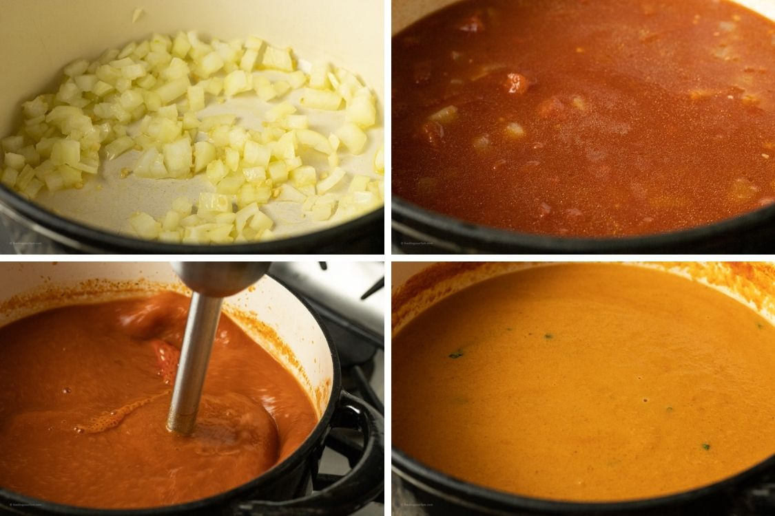 collage of steps to make tomato soup, cooking onions, tomatoes
