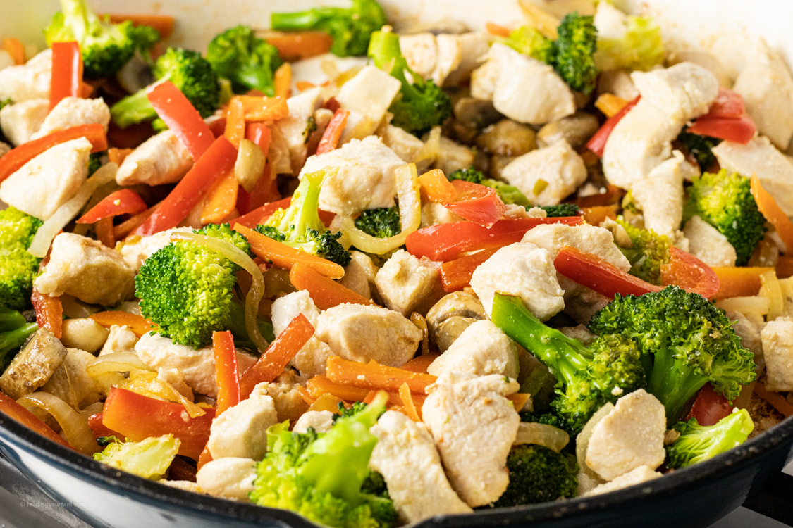 pan of chicken and veggies