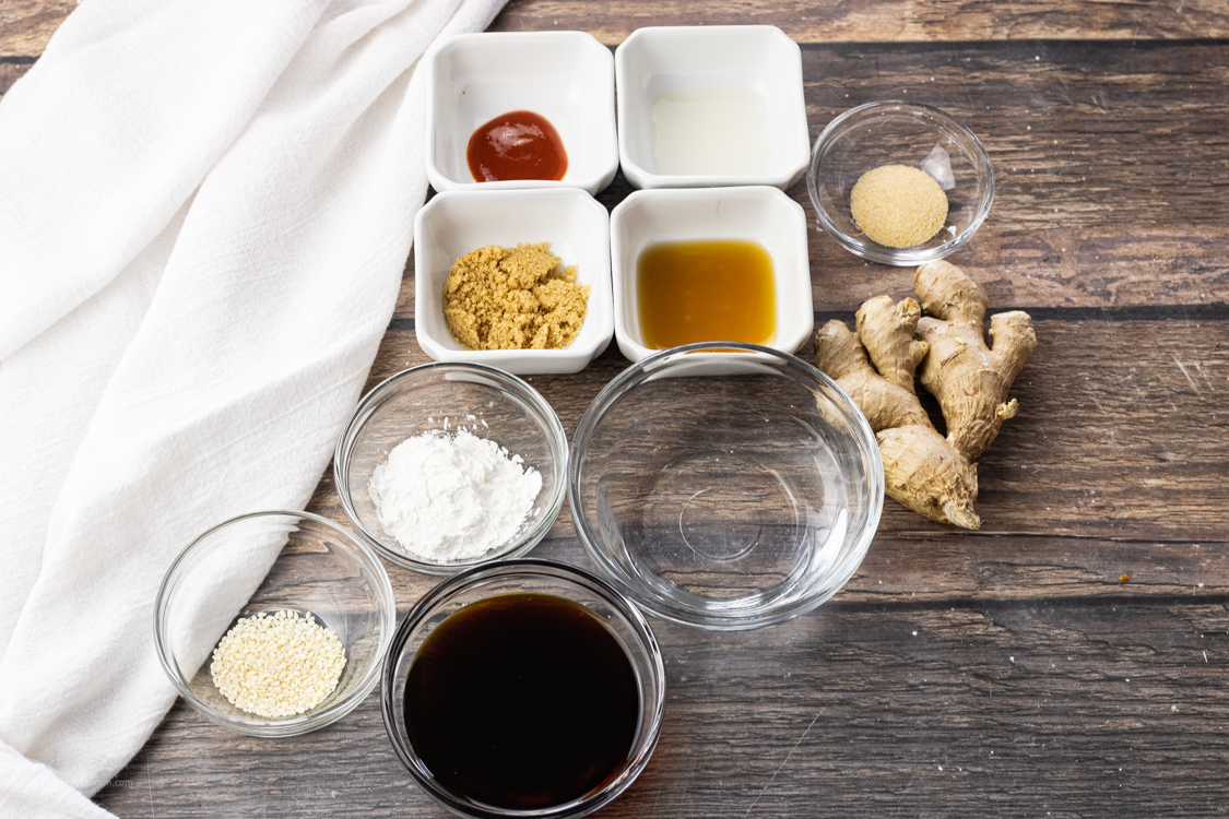 ingredients for stir fry sauce in little bowls