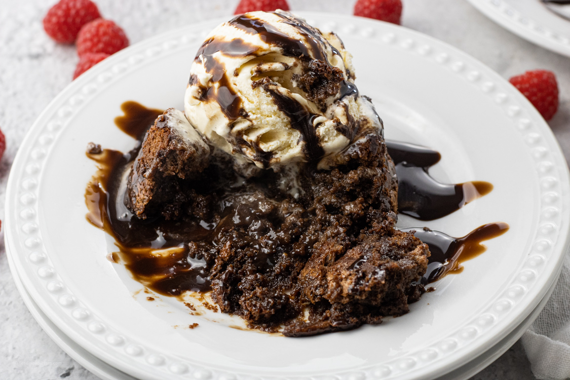 lava cake on a white plate