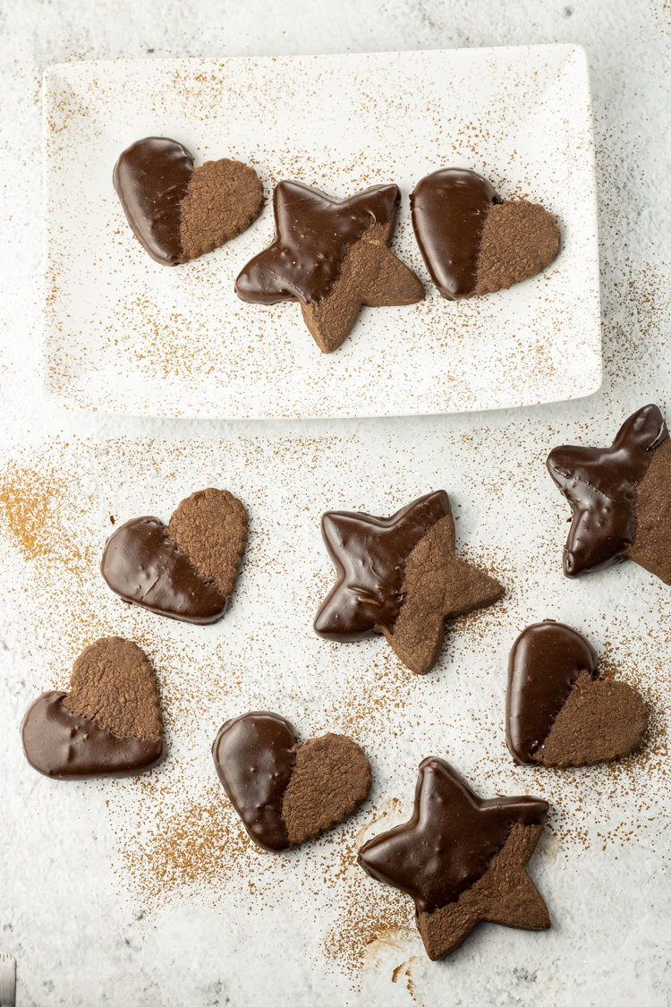 dipped chocolate cookies in heart and star shapes