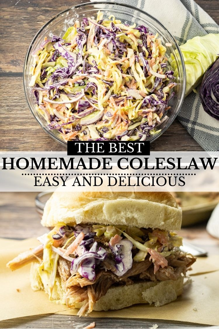 Homemade coleslaw is so easy to make. A combination of cabbages. onions, carrots and simple dressing make this coleslaw a party favorite every time!