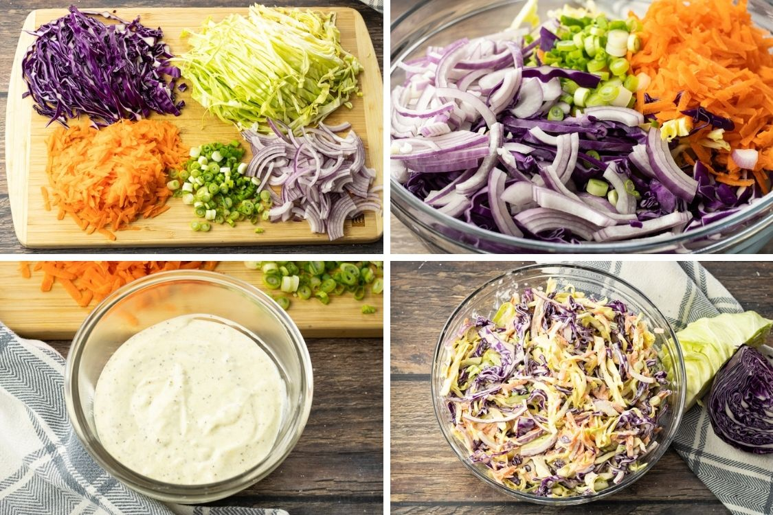 image collage of making coleslaw