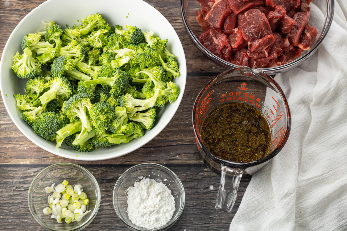 sliced beef, broccoli, stir fry sauce, green onions and cornstarch