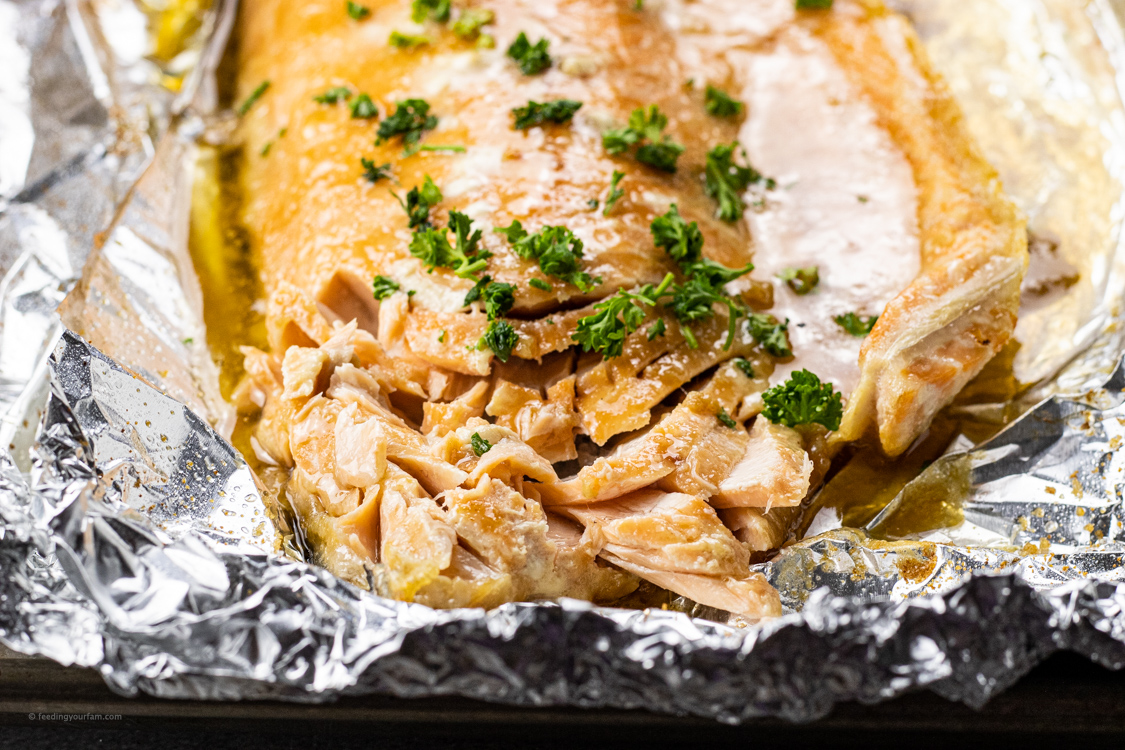 flaked salmon on foil
