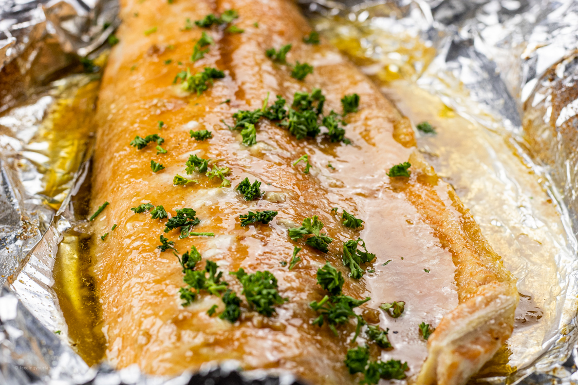 salmon with melted butter and parsley