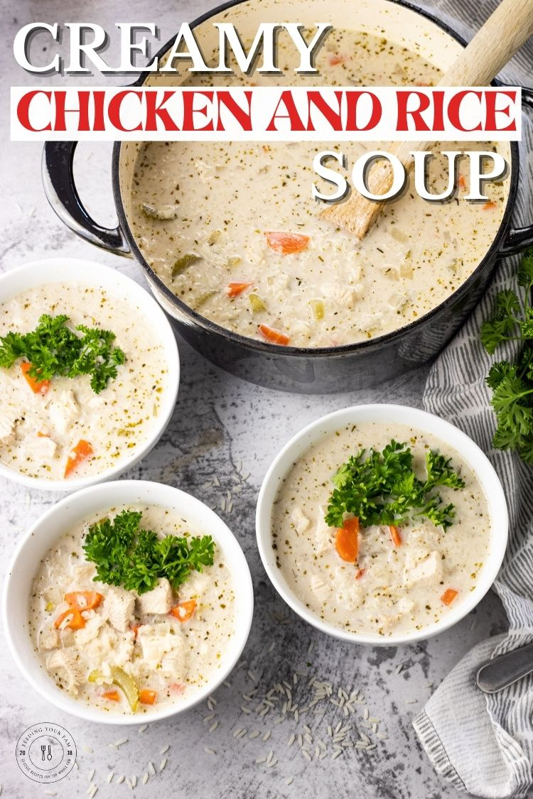 Creamy Chicken and Rice Soup is loaded with vegetables, chicken, rice and a creamy base! Ready in just 30 minutes and so easy to make.