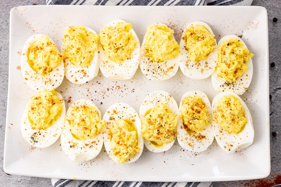 white platter of deviled eggs