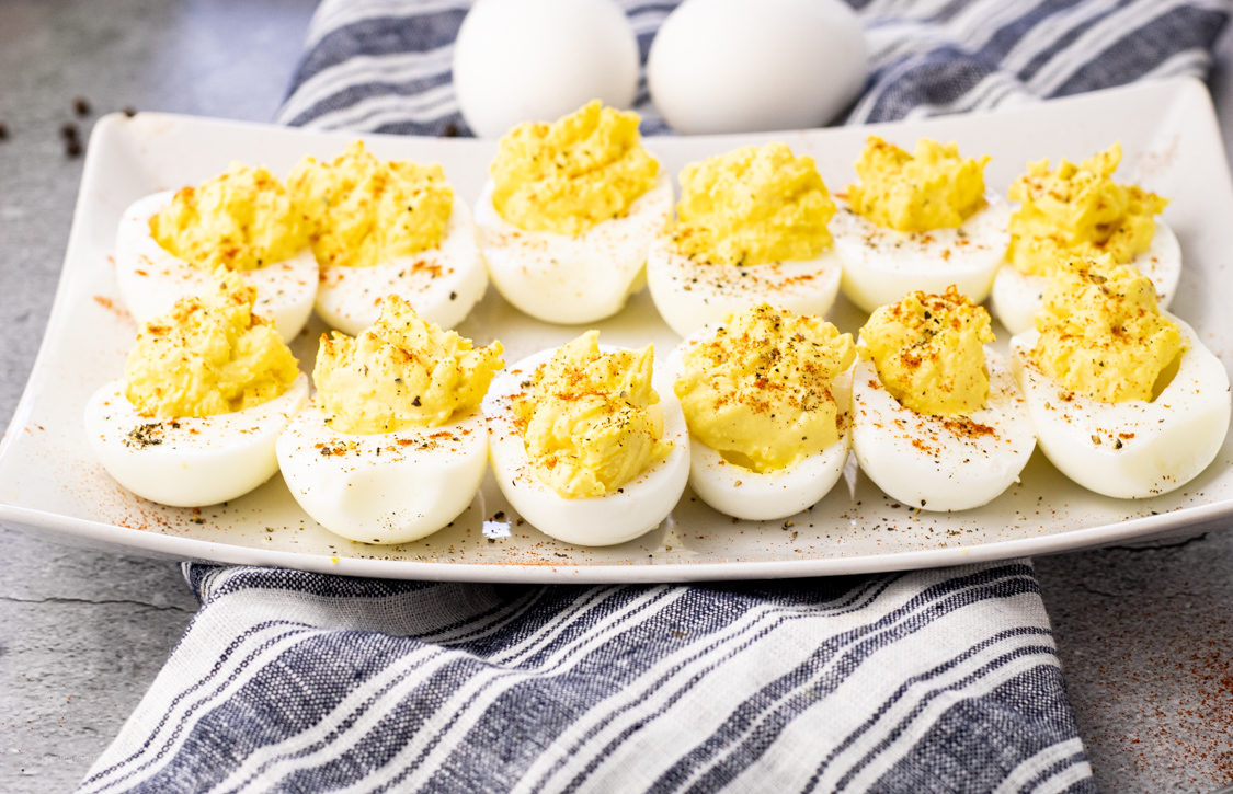 plate of halved egg whites stuffed with egg yolks