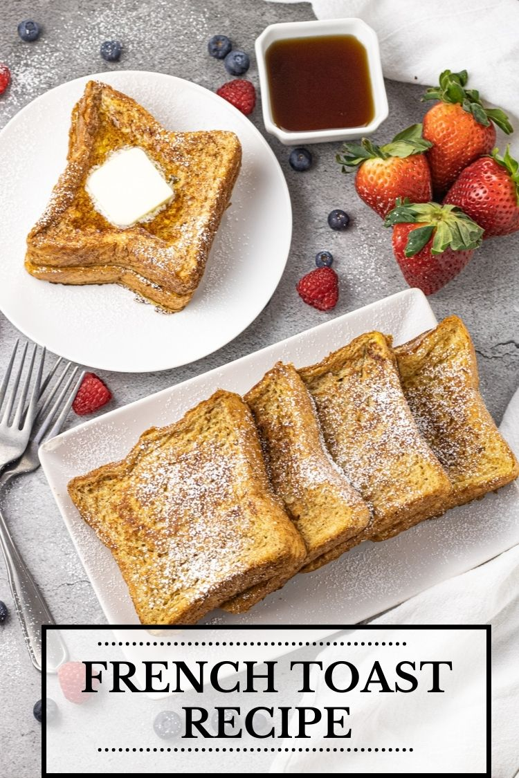 slices of french toast on a white plate