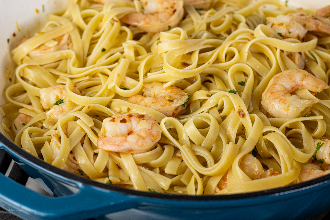 pasta with shrimp in a pan