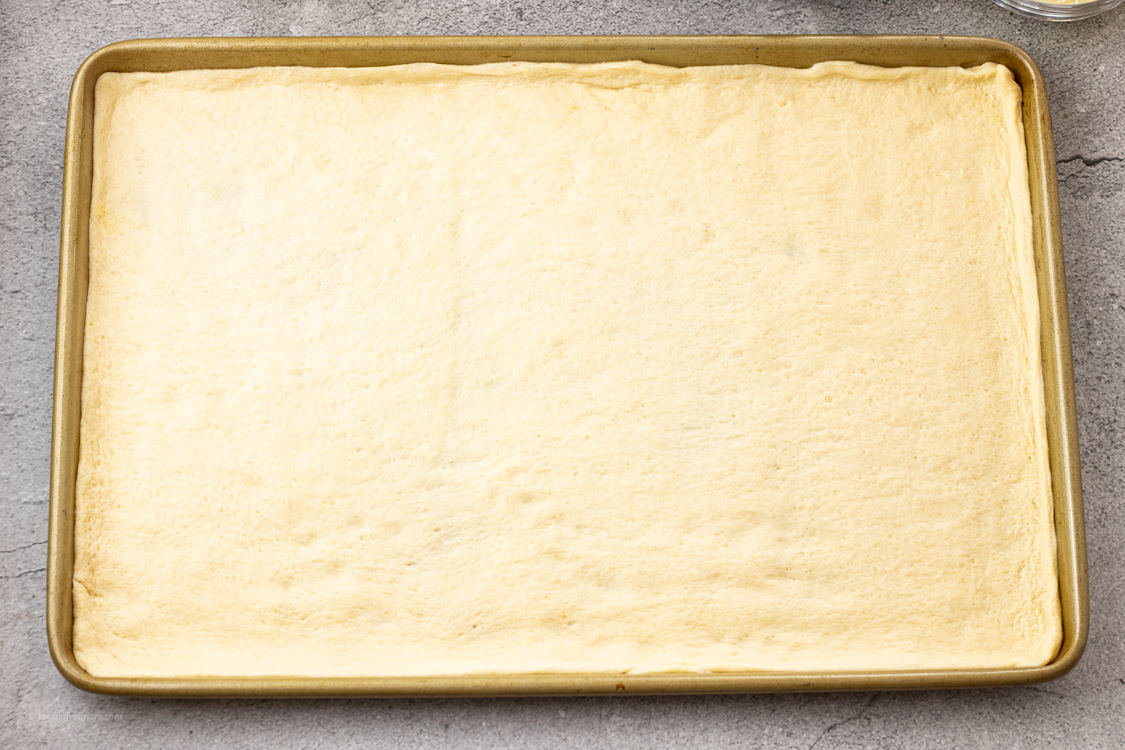 pan lined with crescent roll dough