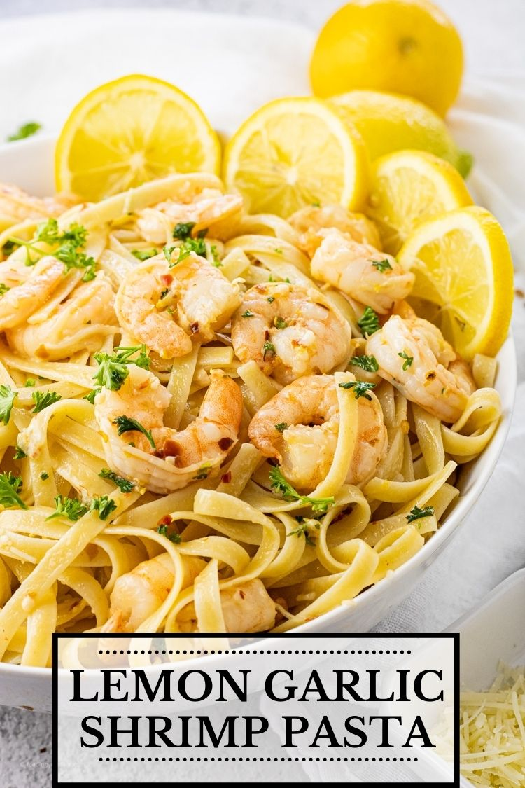 Lemon Garlic Shrimp Pasta is so easy to make and take less than 30 minutes!