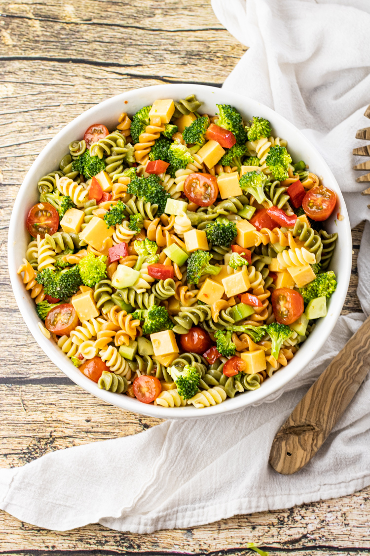 colorful spiral pasta in a vegetable, pasta salad