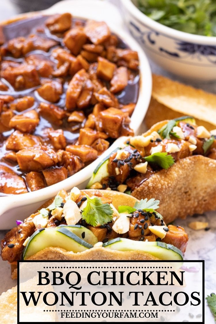 BBQ Chicken Wonton Tacos are Asian Inspired flavors infused into these crunchy, tangy chicken wonton tacos. This recipe will be one you come back to time and time again.