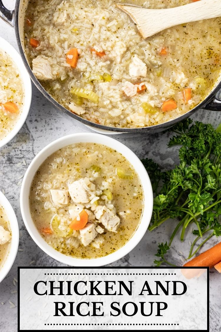 This Chicken and Rice Soup Recipe is a keeper. Loaded with tender chicken breasts, rice, vegetables and simple spices for tons of flavor. Easy Chicken and Rice Soup is so easy to make at home with just a little time and simple ingredients.