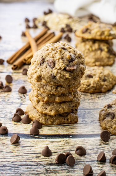 stack of chocolate chip and banana cookies