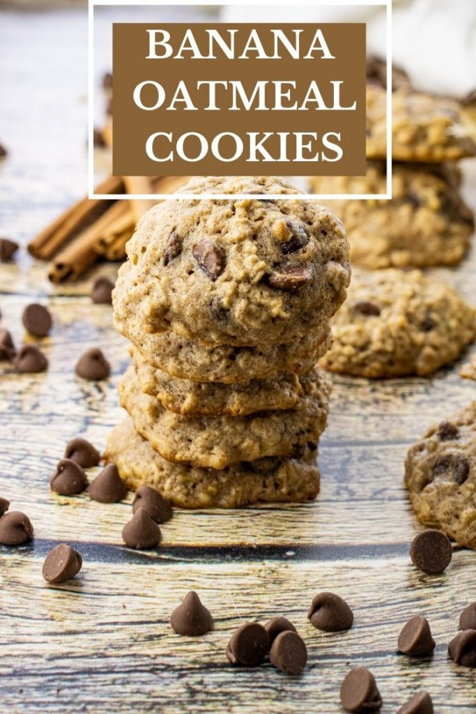 stack of banana oatmeal chocolate chip cookies