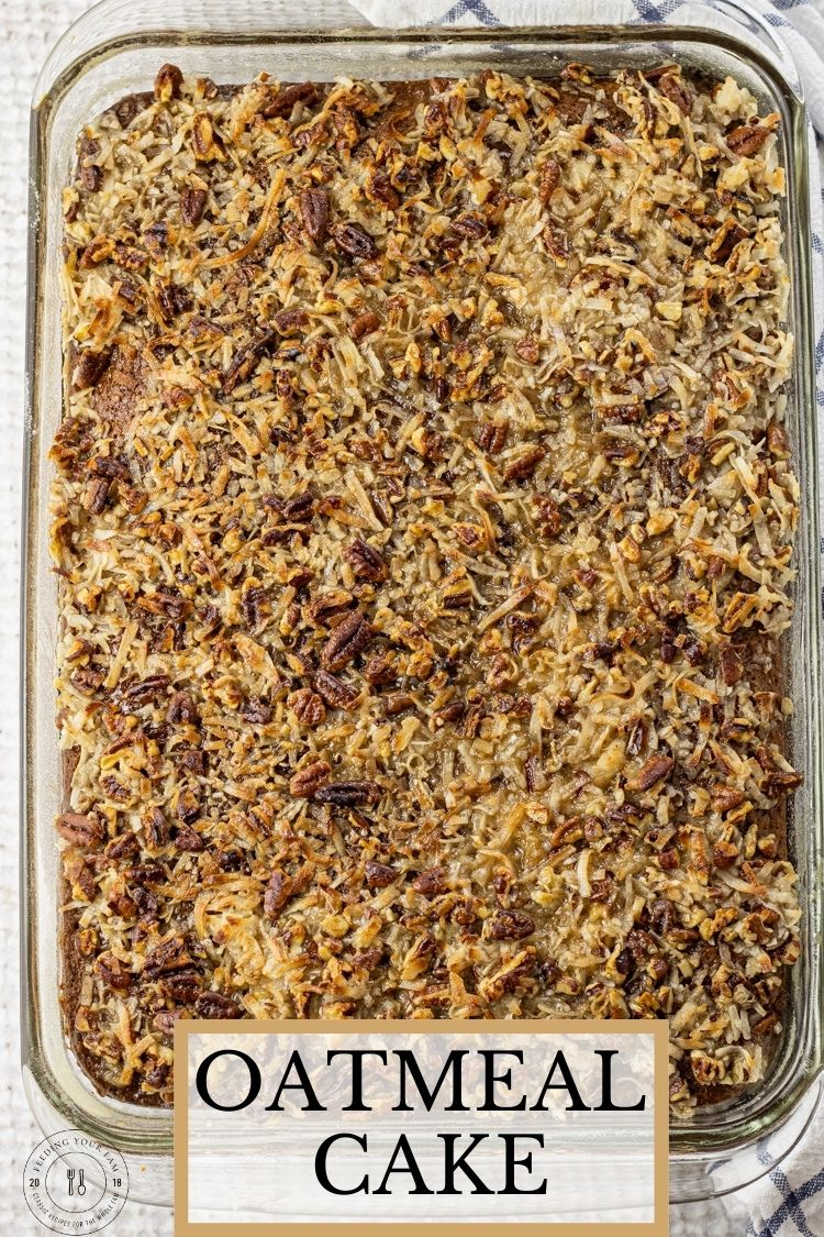 This delicious Oatmeal Cake is moist, full of flavor and perfect for any get together with the fam. Oatmeal Cake is made with oatmeal, seasoned with cinnamon and topped with a delicious, caramely, crunchy coconut, pecan topping.