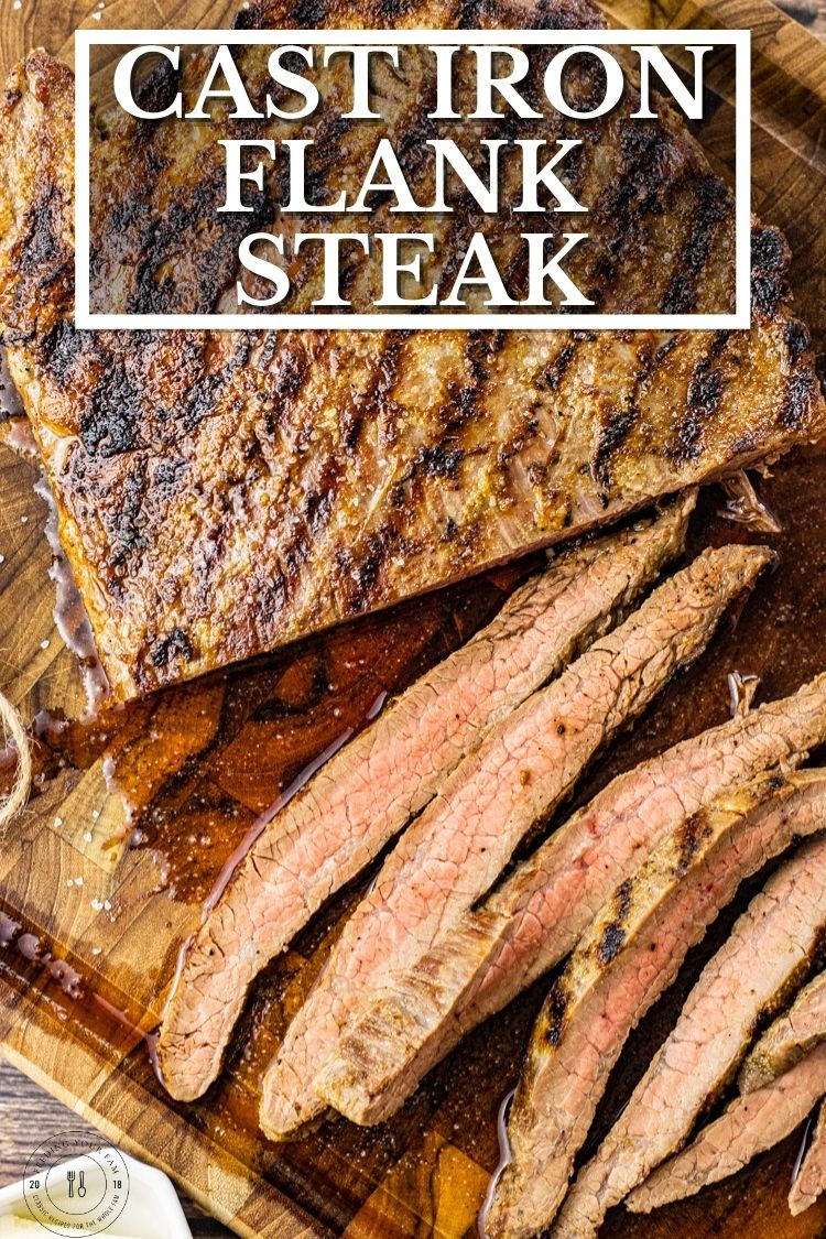 Cooking Flank Steak in Cast Iron is quick and simple. Flank Steak is perfect for feeding the whole fam. This Flank Steak Recipe is cooked on the stovetop in a cast iron grill or skillet.