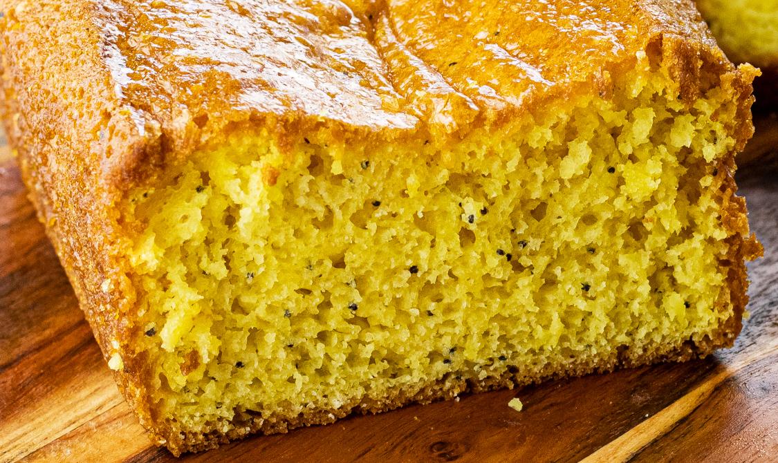 close up of lemon poppyseed bread