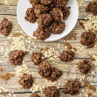 plate of chocolate oatmeal no bake cookies