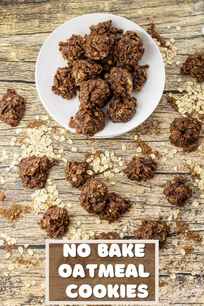 White plate with chocolate oatmeal no bake cookies.
