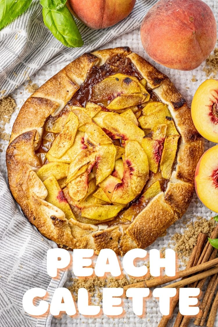 Peach Galette is fresh fruit piled high in the center of a pie crust and then the crust is folded around the edges making almost like a peach pizza pie. Making a galette is so simple and takes a lot less time than making a whole pie, with the same flavor.
