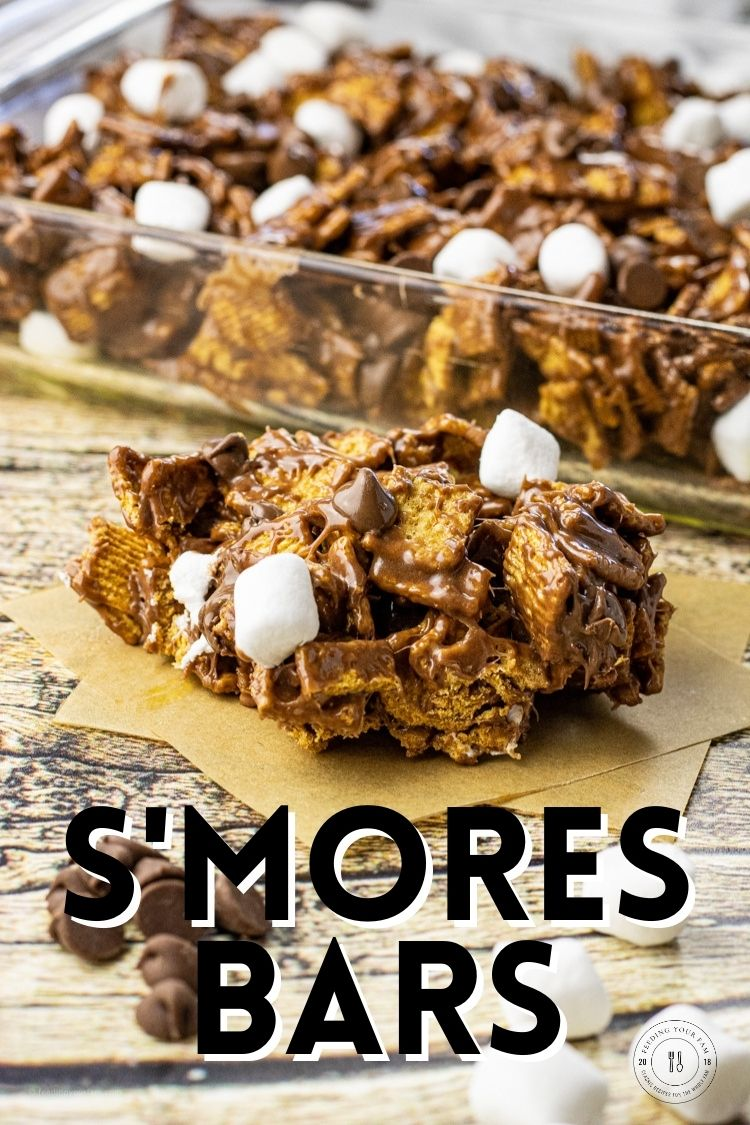 This simple Smores Bar Recipe comes together in less than 10 minutes and is easily made with Golden Grahams cereal, marshmallows and of course chocolate.