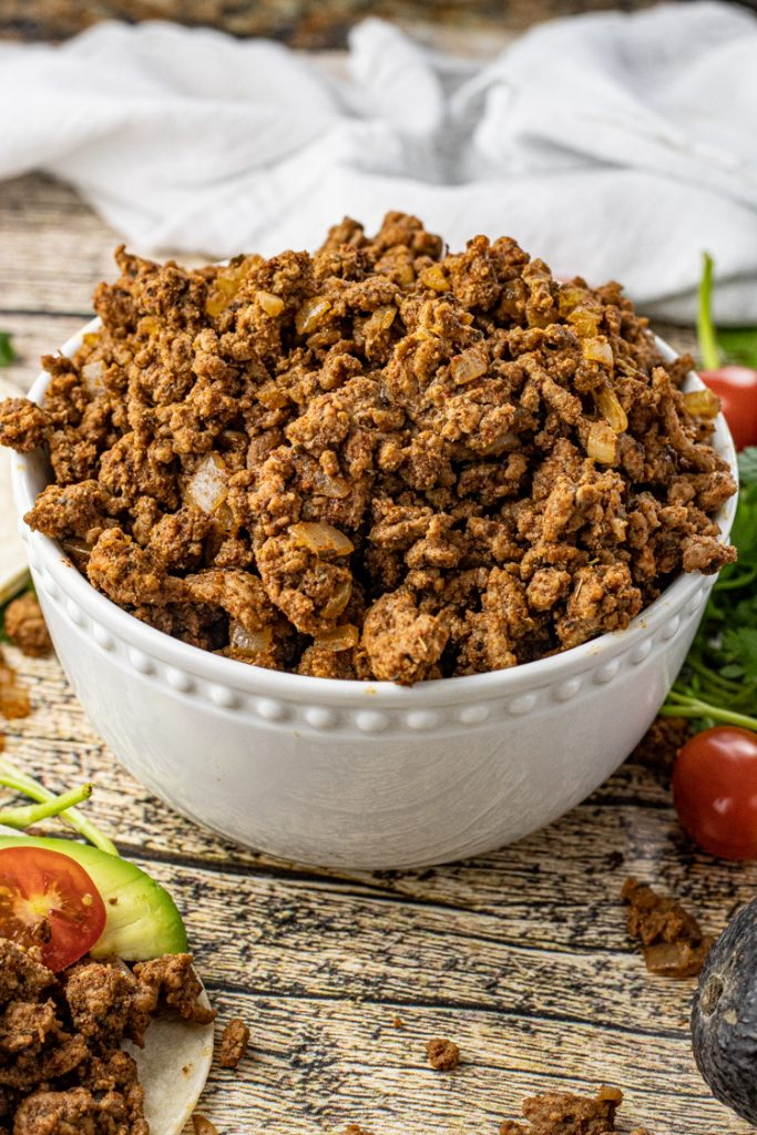 Bowl of ground beef taco meat
