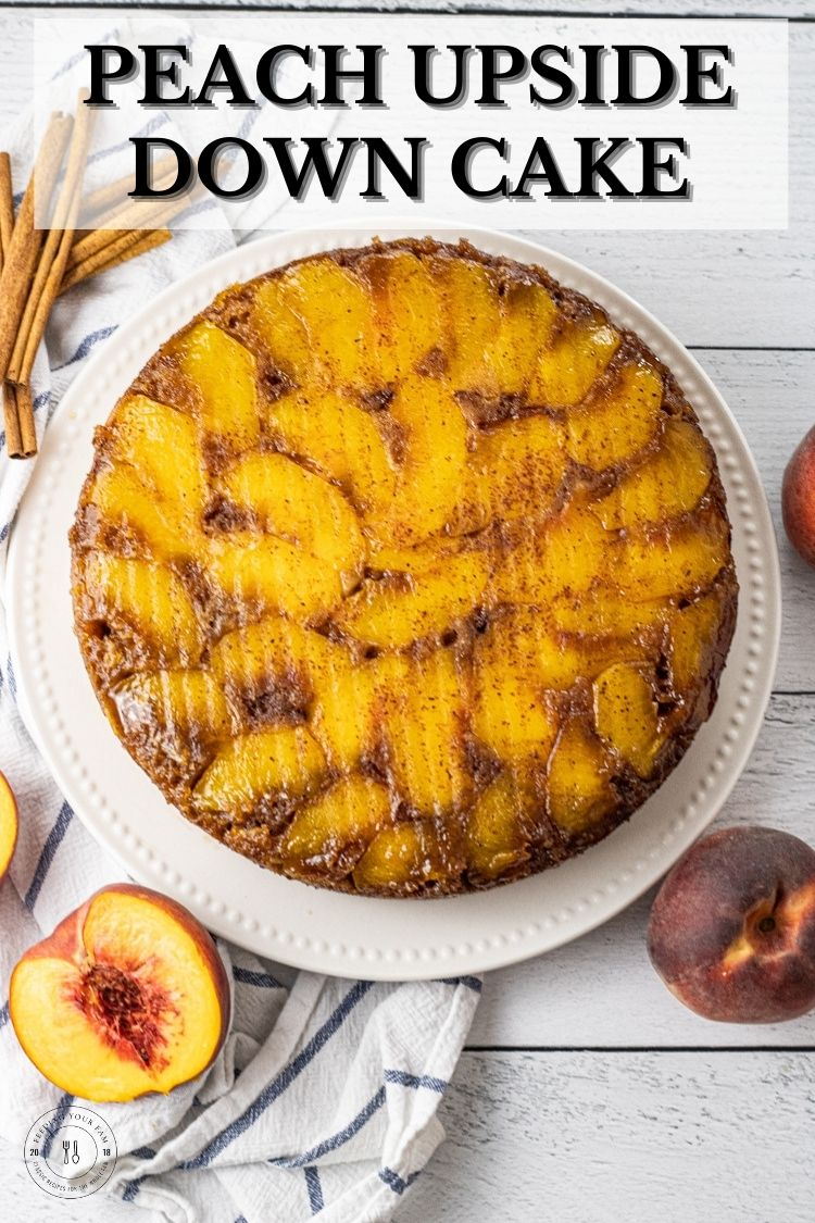 Peach Upside Down Cake is made with fresh peaches layered in a butter and brown sugar covered pan, then topped with a simple cake mix cake for a moist, delicious and easy dessert. This Peach Upside Down Cake recipe is perfect for a summer BBQ or a Fall family gathering. So easy to make, everyone will think you were in the kitchen all day.