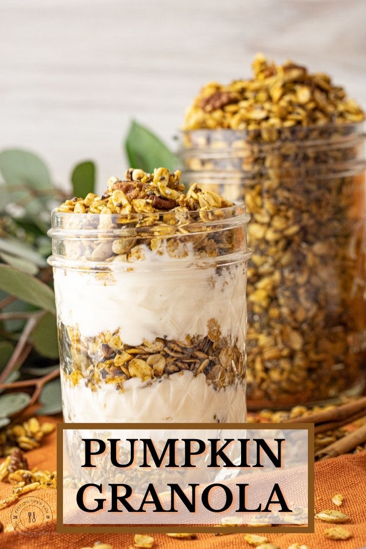 Pumpkin Granola is loaded up with oats, pumpkin seeds, chia seeds and pecans all flavored perfectly with some pumpkin puree and spice. This pumpkin granola recipe is so easy to throw together and is delicious layered with some vanilla yogurt.