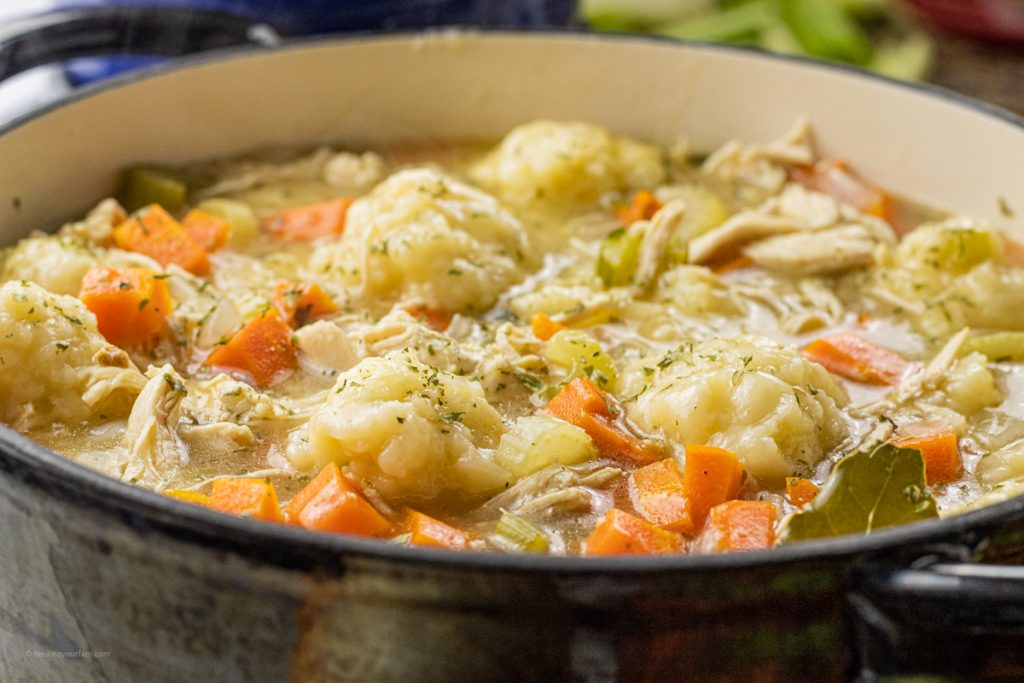 Big pot of chicken soup and dumplings