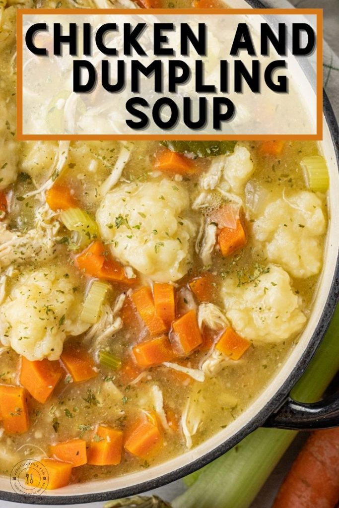 Big pot of chicken soup with dumplings, carrots and celery