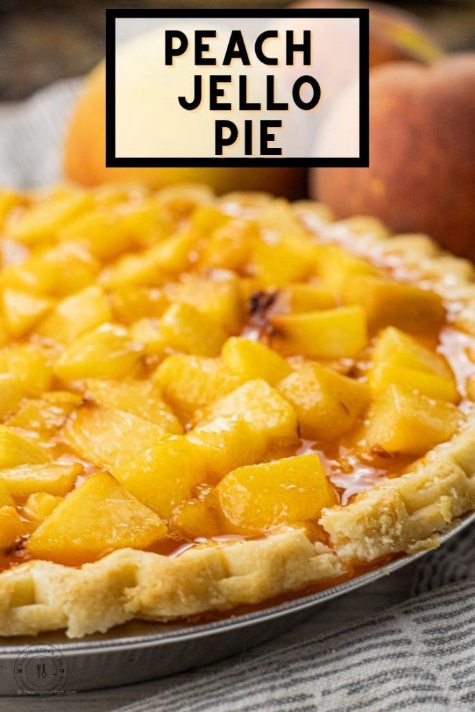 diced peaches in a jello glaze to make peach pie